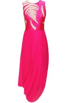 Pink fern embroidered draped dress available only at Pernia's Pop-Up Shop.