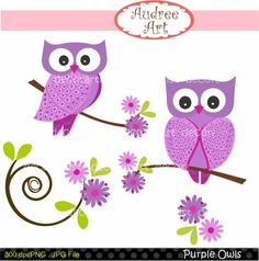 instant download owl clip art  Purple Owls by audreeart on Etsy