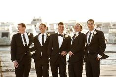 A Perth Black Tie Wedding at Cottesloe Civic Centre Steps captured by Deray and SImcoe. The wedding reception was overlooking the water at The Breakwater, Groomsmen Attire Black, Black Tie Attire, Groom Outfit, Black Tux Wedding, Bow Tie Wedding, Wedding Suits, Wedding Couples, Wedding Ideas, Black Suit Bow Tie