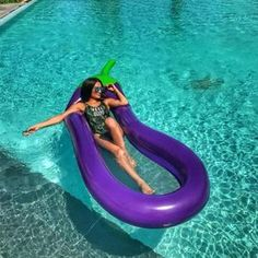 Summer is around the corner. Which means it's time to start thinking about your pool necessities. This Eggplant Float will look great in your backyard. Find more cool pool floats at Apollo Box! Giant Pool Floats, Cool Pool Floats, Swimming Pool Water, Kids Swimming, Inflatable Float, Giant Inflatable, Inflatable Island, Pool Rafts, 233