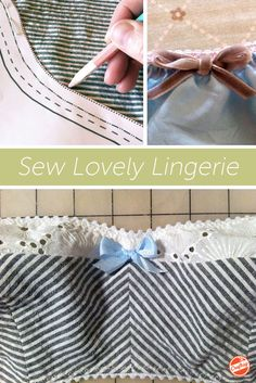 """Free 33-page sewing guide! Get ready to say """"Oo la la!"""" as you enjoy in-depth photo tutorials for sewing your own elegant undergarments. Expert Christine Haynes makes it fun and easy! Sewing Bras, Sewing Lingerie, Sewing Clothes, Bra Pattern, Baby Pets, Diy Sewing Projects, Sewing Tutorials, Sewing Hacks, Lingerie Patterns"""