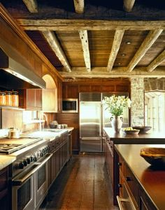 Kitchen with wood ceiling, floor & cabinets and stainless steel appliances - JLF & Associates, Inc., jlfarchitects.com