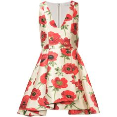 Alice+Olivia Falling Poppy dress (€395) ❤ liked on Polyvore featuring dresses, nude, poppy dress, nude dress, poppy print dress and alice olivia dress