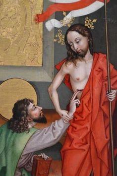 Thomas und der Auferstandene, Gemälde von Martin Schongauer (ca. 1450 - 1491) Museum unter den Linden, Colmar