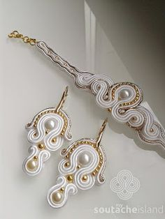 White and gold soutache set, earrings and bracelet
