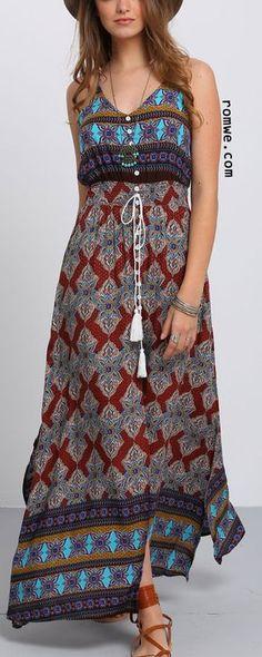 Multicolor Print V Neck Split Side Maxi Dress