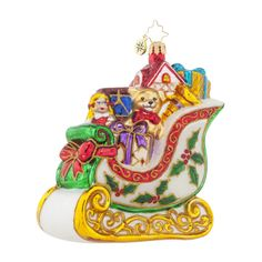 "Christopher Radko Ornament - ""Holly-Day Sleigh"""