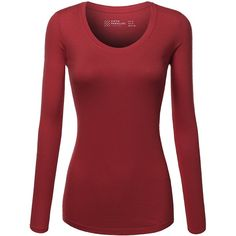 FPT Womens Basic Scoopneck Long Sleeve T-Shirt (S-3XL) ($10) ❤ liked on Polyvore featuring tops, t-shirts, long sleeve tops, long sleeve scoop neck tee, long sleeve scoop neck t shirt, scoop neck t shirt and red long sleeve top