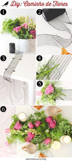 como fazer caminho de mesa  usando flores e folhagens. Flower table runner.