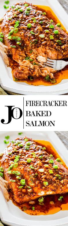 Perk up your dinner tonight with this firecracker baked salmon Red pepper flakes and Sriracha sauce provide this salmon with some fiery flavor that give this salmon its n. Salmon Recipes, Fish Recipes, Seafood Recipes, Dinner Recipes, Cooking Recipes, Healthy Recipes, Flake Recipes, Recipies, Fish Dinner
