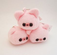 Baby Pork Pig Cube Plushie Keychain kawaii stuffed toy by quacked, $12.50