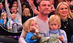 Naomi Watts and Liev Schreiber and their two sons watched the Los Angeles Clippers thrash the New York Knicks, 116-88, at Madison Square Garden on Friday night.