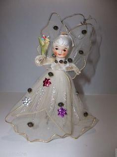 Vintage-SEBNITZ-German-Folk-Art-ANGEL-Christmas-Tree-Ornament-Porcelain-Head