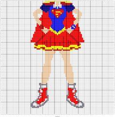"SUPER GIRL 95 X 95 MINI C2C GRAPH SQUARES = APPROX 40"" X 40"" THROW"
