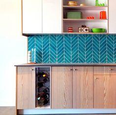 deep aqua herringbone tiles in kitchen