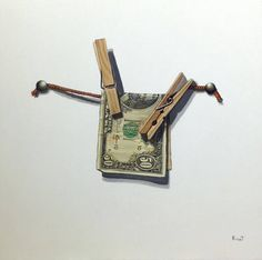 Original Acrylic Trompe L'Oeil Painting  Money Laundering