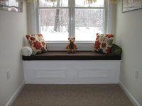 custom window seat cushion in robert allen success java with sunbrella cocoa cording