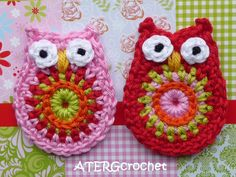 Owl application set rosa/red by ATERGcrochet on Etsy, €5.00