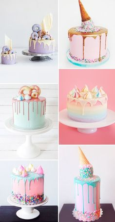 12 drip cakes para a festa infantil - Constance Zahn - cake decorating recipes kuchen kindergeburtstag cakes ideas Drip Cakes, Pretty Cakes, Cute Cakes, Girly Cakes, Food Cakes, Cupcake Cakes, Macaron Cake, Cupcake Toppers, Fondant Cakes