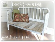 Spool bed bench  from crib! Great Idea for your old baby beds.
