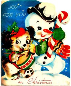 Vintage Christmas Card Puppy Dog Snowman Cute Kitten Inside