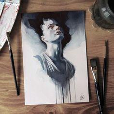 """Páči sa mi to: 3,517, komentáre: 19 – Miroslav Zgabaj (@miro_z_art) na Instagrame: """"Small watercolor painting  #face #portrait #watercolor #painting #sketch #watercolorpainting…"""""""