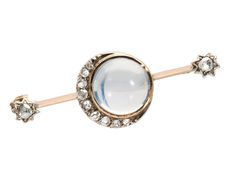Ode to Artemis - Crescent Moon Diamond and Moonstone Brooch
