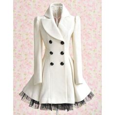 So in love with this!!! Long Sleeves Lapel Double-breasted Beam Waist Voile Stitching Plicated Ruffles Long Edition Ladylike Women's Coat