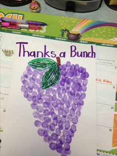 Preschool Thank You Card for kids to make - purple finger prints in the shape of a bunch of grapes - Thanks a Bunch!