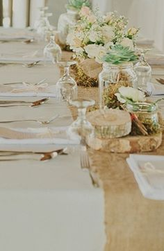 Rustic tablescape with succulents and floral