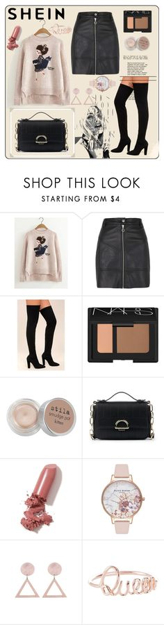"""Girl-Pattern-Dip-Hem-Sweater"" by sabina-mehic123 ❤ liked on Polyvore featuring River Island, Bamboo, NARS Cosmetics, Stila, Sole Society, LAQA & Co., Olivia Burton and Rika"