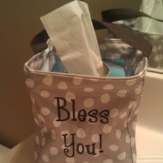 """Littles Carry All Caddy - Great holder for tissue boxes! Love the """"bless you"""" personalization!    Order it at www.mythirtyone.com/bethbk!"""