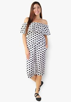 One of the most fun-to-wear outfits there is. Have this white polka three-way style pedal jumpsuit. Stretchy textured fabric, gartered chest and waist. Jumpsuits, Cold Shoulder Dress, Fabric, Fun, How To Wear, Outfits, Collection, Dresses, Style