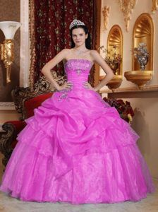 Lavender Ball Gown Strapless Quinceanera Dress with Pick-ups and Beading