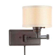 Brookhaven 1 Light Bronze Swing Arm Sconce With 6 Ft Cord And Plug