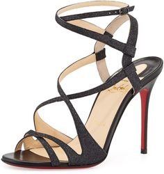 Christian Louboutin Audrey Strappy Glitter Red Sole Sandal, Black on shopstyle.com