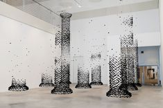 columns of suspended charcoal by Seon Ghi Bahk