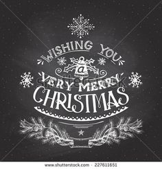 Vintage hand-lettering Christmas wishes with chalk on blackboard background, greeting card - stock vector