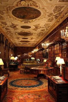 One of several libraries in Chatsworth House, Derbyshire.  One of several.  A house with not one.  But several.  can't wrap my head around it.