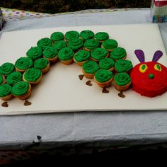 "COOL IDEAS...Hungry Caterpillar Counting Cupcakes: I thought these caterpillar cupcakes were a very neat idea. It goes along with the interactive bulletin board ""The Counting Caterpillar"" that I created. This caterpillar is cool because kids can count the number of cupcakes and enjoy a treat. Not to mention talking about caterpillars can lead to other sciency discussions!"