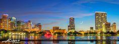Orlando Florida Skyline Panorama and Moon Set