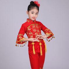 64100c6b93 Traje de baile folclórico chino Niños Han étnico Danza nacional Ropa Niños  Niñas Danza clásica
