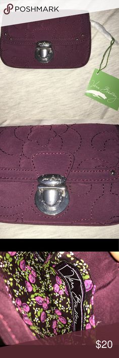 NWT Vera Bradley Wallet Coin ID Purse Purple Brand new with tags Vera Bradley Flap ID and Coin Purse. UPC 886003114025. Perfect Condition. Pet and smoke free home. Beautiful stitching! Metal clip to close. Microfiber. Wine purple colored. Vera Bradley Accessories Key & Card Holders