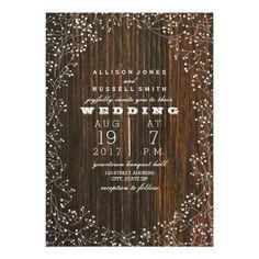 Barn Wood + Baby's Breath Wedding Card                                                                                                                                                     More