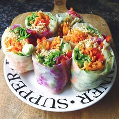"""""""Ridiculously good. Rice paper rolls for lunch """""""