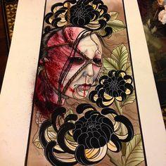 Oiwa's namakubi, the other side to the black chrysanthemum skull #tattoo#tattoos#tattooart#tattoopainting#orientalart#orientaltattoo#japaneseart#japanesetattoo#japaneseflowertattoo#ink#namakubi#japaneseghosttattoo#japaneseghost#oiwa#asiantattoo#