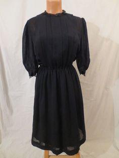 JANE EYRE gothic mistress dress - black crepe - full skirt sz 8 S M
