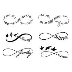 Infinity Symbol Set Temporary Tattoo Set of 6 by Tattify on Etsy
