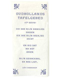 Aan tafel - Poëtisch tafelen - poëzieservet Oudhollands tafelgebed - Plint