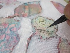 Painting flowers with #Watercolor and #Mixedmedia, a painting tutorial on ARTiful, painting demos